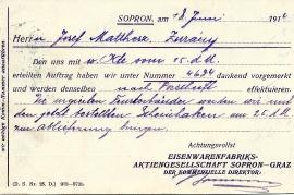 1914 Eisenwarenfabrik Sopron Graz 20R