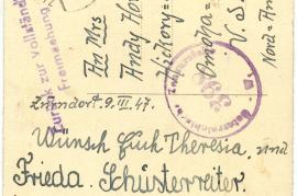 1947 Osterkarte from Schusterreiter Family from Zurndorf to Horwaths in Omaha, Rücks. 57HW
