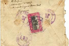 1920 Umschlag Rückseite Johan Rauscher Zurndorf, WK, Ungarn 45HW