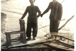 1950er F. Pethö, P. Milleschitz, Fischen in der Leitha 7MP
