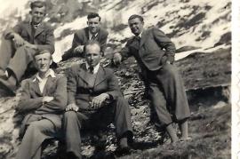 1960er Ausflug o.v.l. K.Wendelin, M.Meixner, J.Graf, u.v.l. J.Zechmeister, A.Pamer, 9ZJ